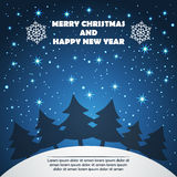 Christmas and New Year Greeting Card with Fir Trees Stock Images