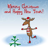 Christmas and New Year greeting card with funny cartoon skating deer Stock Photo