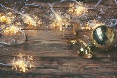Christmas, new year greeting card, garland light snowflake borde Royalty Free Stock Image