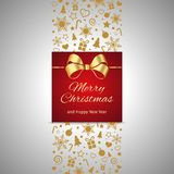 Christmas and New Year greeting card, gift box with golden ribbon. Christmas card, gift box with ribbon, vector illustration Stock Photo