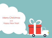 Christmas and New Year greeting card with gift delivery van Royalty Free Stock Photography