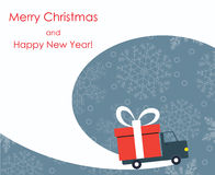 Christmas and New Year greeting card with gift delivery van Stock Images