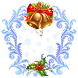 Christmas and New Year greeting card. Golden bel Stock Photos