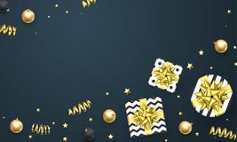 Christmas New Year greeting card golden gift decoration background vector glitter template. New Year or Christmas greeting card of golden gift ribbon bow and Royalty Free Stock Image