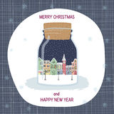 Christmas and New year greeting card. Hand drawn city in bottle. Merry Christmas and New year greeting card. Hand drawn city in bottle. Winter landscape stock illustration