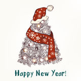 Christmas or New Year greeting card with hand drawn decorated Xm. New year or Christmas humor background with Xmas tree in red scarf and hat like Santa happy New Vector Illustration
