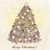 Christmas or New Year greeting card with hand drawn decorated Xm. As tree royalty free illustration