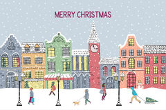 Christmas and New year greeting card. Hand drawn snowy town. At holiday eve. Christmas and new year design background stock illustration