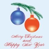 Christmas New Year greeting card. With lettering and balls Royalty Free Stock Photography