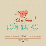 Christmas and New Year greeting card 2016. Lettering Stock Images