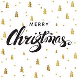 Christmas and New Year  greeting  card with lettering on white Royalty Free Stock Image
