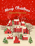 Christmas and New Year greeting card. Marry Christmas and Happy New Year greeting card vector illustration. Houses in snowfall, rural winter landscape at holiday Stock Image