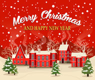 Christmas and New Year greeting card. Marry Christmas and Happy New Year greeting card vector illustration. Xmas poster with red brick christmas houses, snow Royalty Free Stock Photo