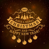Christmas and New Year greeting card. Merry Christmas and Happy New Year! Greeting card with dark background and golden glitter typography badge. Vector Royalty Free Stock Images