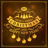 Christmas and New Year greeting card. Merry Christmas and Happy New Year! Greeting card dark background and golden typography badge. Vector illustration Royalty Free Stock Images