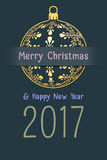 Christmas and new year 2017 greeting card Royalty Free Stock Photography