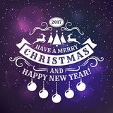 Christmas and New Year greeting card. Merry Christmas and Happy New Year! Greeting card with shiny background and elegant typography badge. Vector illustration Stock Photography