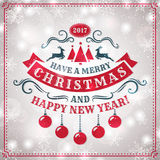Christmas and New Year greeting card. Merry Christmas and Happy New Year! Greeting card with shiny snowflakes background and elegant typography badge. Vector Royalty Free Stock Images