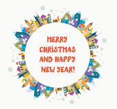 Christmas and New Year greeting card with nice town and frame Royalty Free Stock Photo