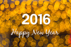 Christmas and New Year greeting card on orange light bokeh. Background, 2016 stock illustration