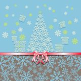 Christmas and New Year. Greeting card with pink bow Christmas tree and gift boxes made from snowflakes. Vector illustration Stock Photography