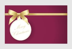 Christmas and New Year greeting card with place for text. Gift Card With Christmas tree decoration vector illustration