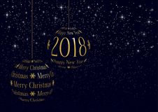 Christmas and new year 2018 greeting card Royalty Free Stock Photo