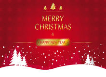 Christmas and new year greeting card on red background with snowflake texture. Red snowflake christmas background with winter landscape and golden christmas and Royalty Free Stock Photos