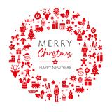 Christmas and New Year greeting card red color. Merry christmas and happy new year greeting card with red christmas symbols on white background. Vintage vector illustration