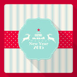 Christmas and new year 2015 greeting card with reindeer. Vector illustration, eps 10 with transparency Vector Illustration