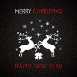 Christmas and New Year greeting card. With reindeers and snowflakes Royalty Free Stock Photos