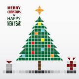 Christmas and New Year greeting card in retro style Royalty Free Stock Image