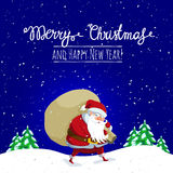 Christmas and New Year greeting card with Santa Claus. Santa Claus with big sack dropping the gifts. Christmas or New Year holiday art. Vector illustration vector illustration