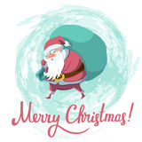 Christmas and New Year greeting card with Santa Claus. Santa Claus with big sack dropping the gifts. Christmas or New Year holiday art. Vector illustration stock illustration
