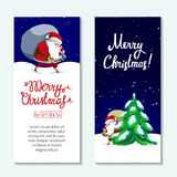 Christmas and New Year greeting card with Santa Claus. Santa Claus with big sack dropping the gifts. Christmas or New Year holiday art. Vector illustration royalty free illustration