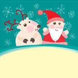 Christmas and New Year Greeting card, Santa Claus. With Deer illustration, eps 10 vector illustration