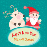 Christmas and New Year Greeting card, Santa Claus  Royalty Free Stock Image