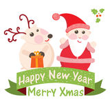 Christmas and New Year Greeting card, Santa Claus. With Deer vector illustration, eps 10 stock illustration