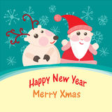 Christmas and New Year Greeting card, Santa Claus. With Deer vector illustration, eps 10 vector illustration