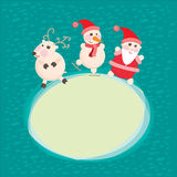 Christmas and New Year Greeting card, Santa Claus. With funny Deer illustration, eps 10 vector illustration