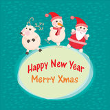 Christmas and New Year Greeting card, Santa Claus. With funny Deer vector illustration, eps 10 stock illustration