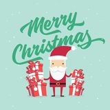 Christmas and New Year Greeting card, Santa Claus with gifts box. Vector vector illustration