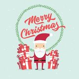 Christmas and New Year Greeting card, Santa Claus with gifts box. Vector stock illustration