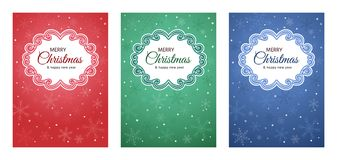 Christmas and New Year greeting card set with a decorative frame. Set of cards, invitations, festive packaging for Christmas and New Year. Decorative frame on Royalty Free Stock Images