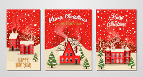 Christmas and New Year greeting card set. Marry Christmas and Happy New Year greeting card set vector illustration. Houses in snowfall, winter landscape at Royalty Free Stock Image