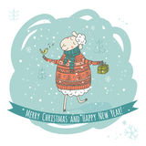 Christmas and New Year greeting card with sheep and gift. Christmas and New Year greeting card with smiling sheep and gift royalty free illustration