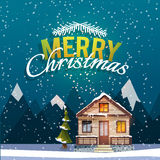 Christmas and New Year greeting card. Sweet family home among mountains. A winter banner in flat style. Rent of the home. Vector illustration Stock Photos