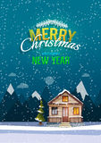 Christmas and New Year greeting card. Sweet family home among mountains. A winter banner in flat style. Rent of the home. Vector illustration Royalty Free Stock Photo
