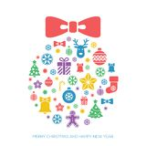 Christmas and New Year greeting card template. With a selection of coloruful seasonal silhouette icons arranged in the shape of a Xmas ball Stock Photos