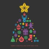 Christmas and New Year greeting card template. With a selection of coloruful seasonal silhouette icons arranged in the shape of a Xmas fir tree with star Vector Illustration